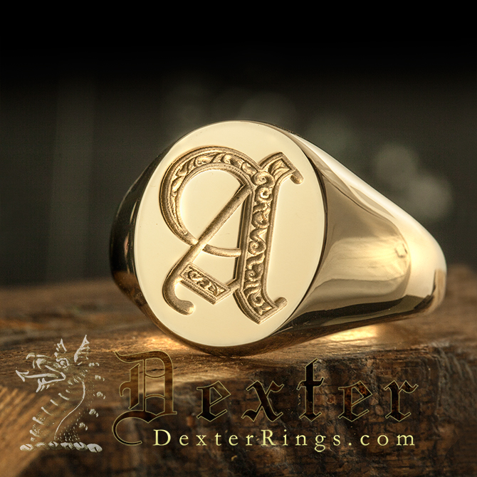 Letter A Deep Engraved Initial Alphabet Signet Ring