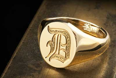 Letter D Deep Engraved Initial Alphabet Signet Ring