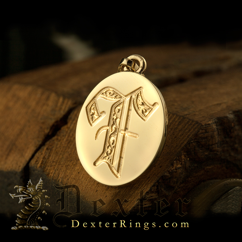 Initial Letter F Deep Engraved on a Pendant