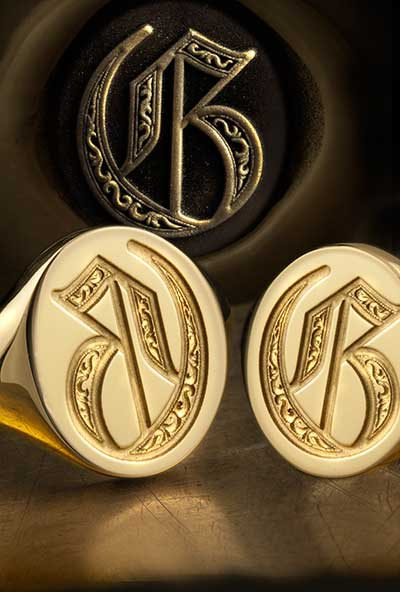 Letter G Seal and Deep Engraved Initial Alphabet Signet Rings