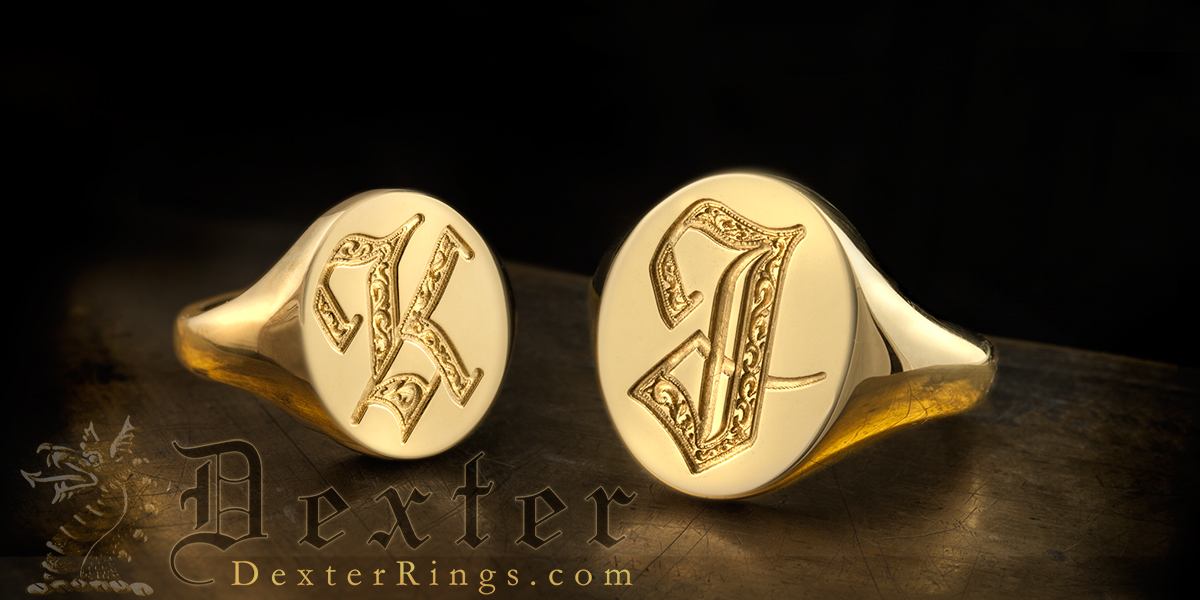 Letters K & J  Engraved Ladies & Gents Rings