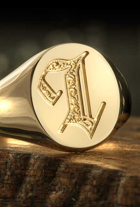 Letter L Deep Engraved Initial Alphabet Signet Ring