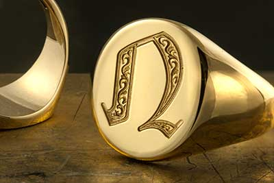 Letter N Deep Engraved Initial Alphabet Signet Ring