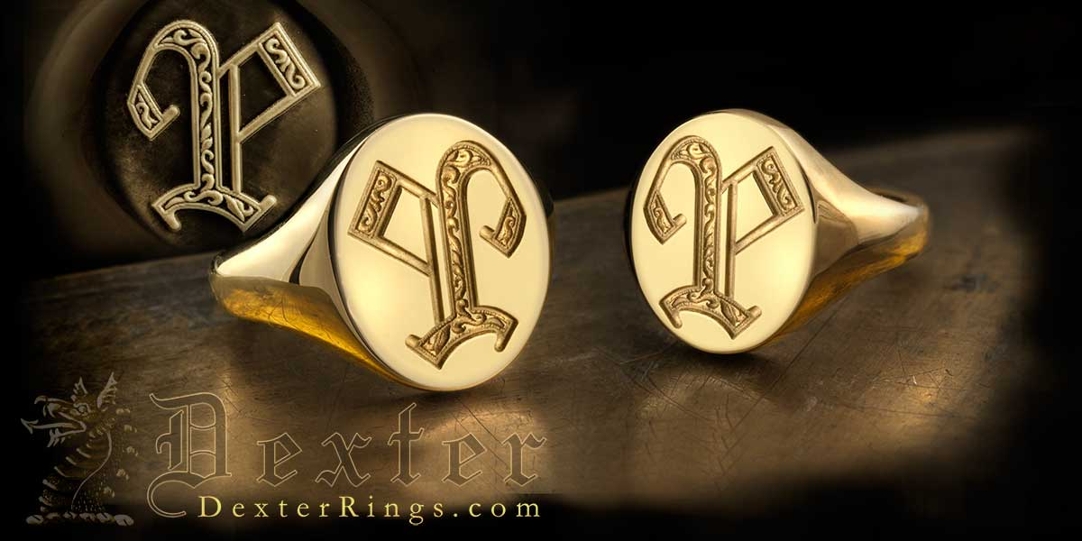 Letter P Ornate Letter Rings Seal & Show Engraved