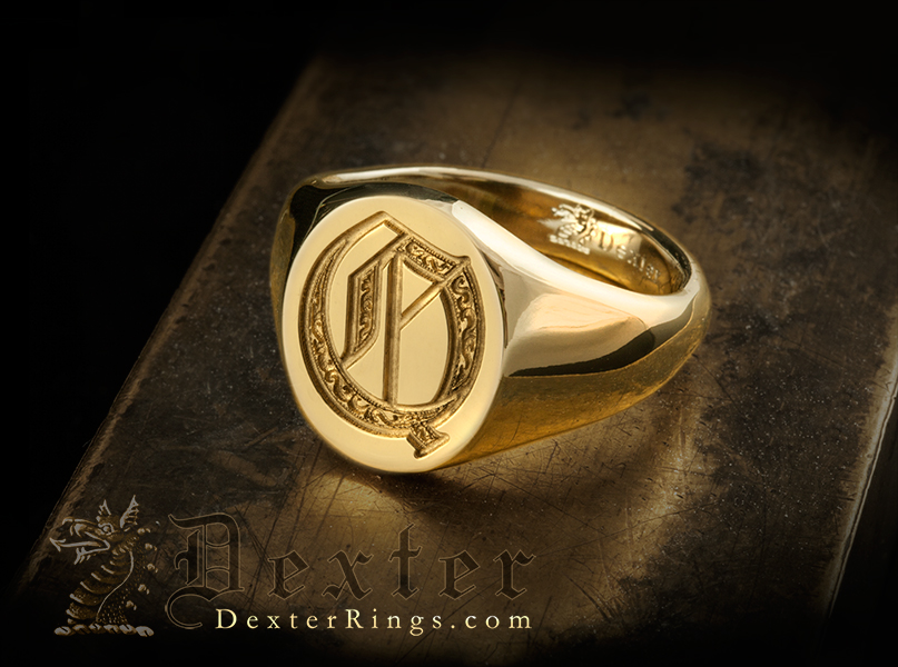 Letter Q Deep Engraved Initial Alphabet Signet Ring