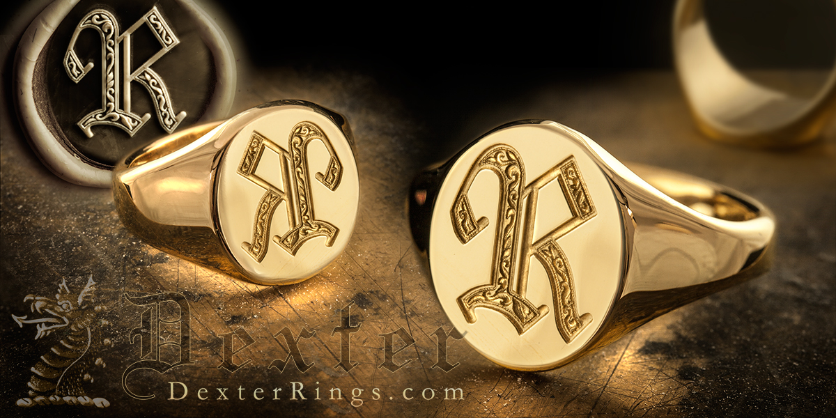 Letter R Signet Ring Shown Deep Seal & Show Engraved
