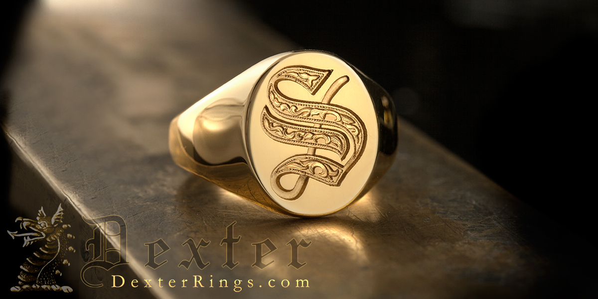 Letter S Deep Engraved Initial Alphabet Signet Ring