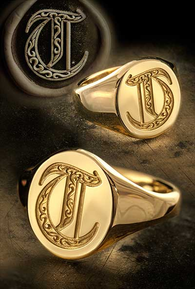 Letter T Deep Engraved & Traditional Seal Ring