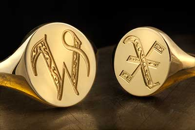 Letters W & X Deep Engraved Ornate Letter Signet Rings