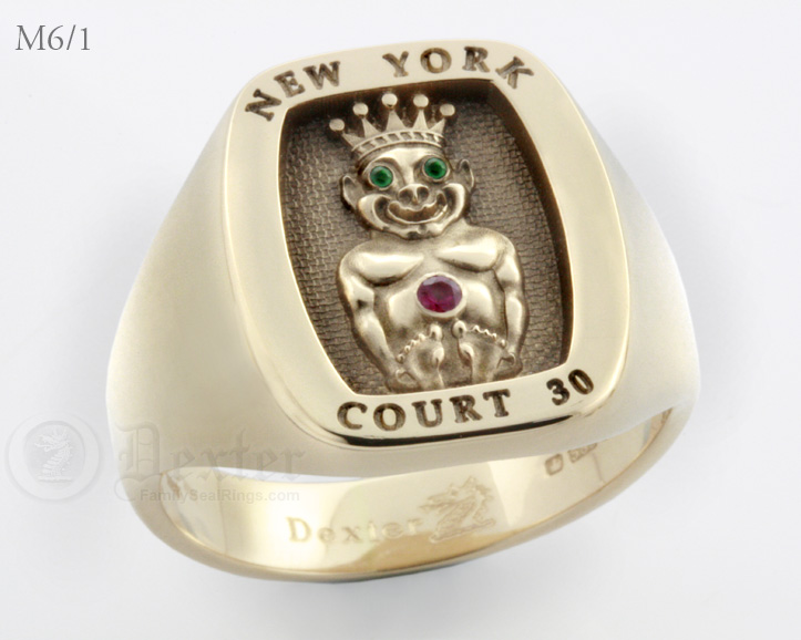 Jesters Billiken Ring Your Choice of Text(M6/1 Elevated Engraved)