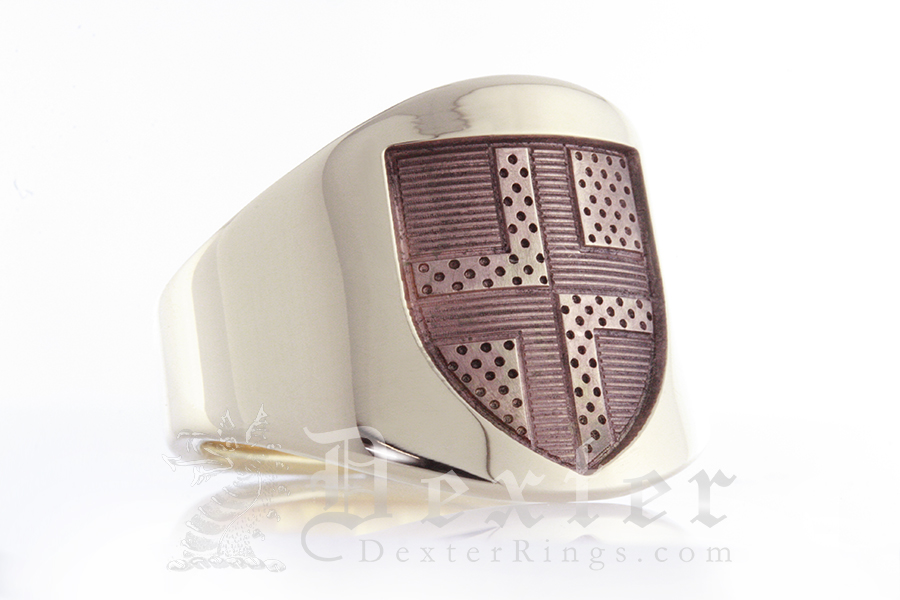 Modern & Ancient - Heraldic Shield with Tincture Cigar Band Ring