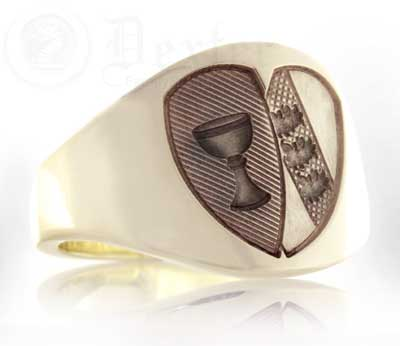 Union Design - Two Family Shields Cigar Ring