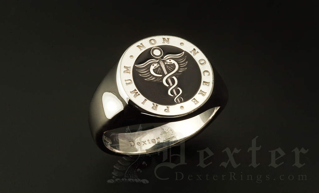 Caduceus Medicine Medical Symbol Ring Enamelled in Black