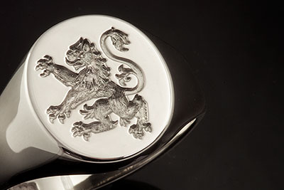 Part of a School Shield (Charge) - Scottish Style Lion Signet Ring