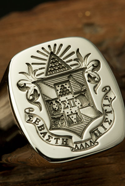 Sigma Pi Fraternity Signet Cushion Shape Signet Ring