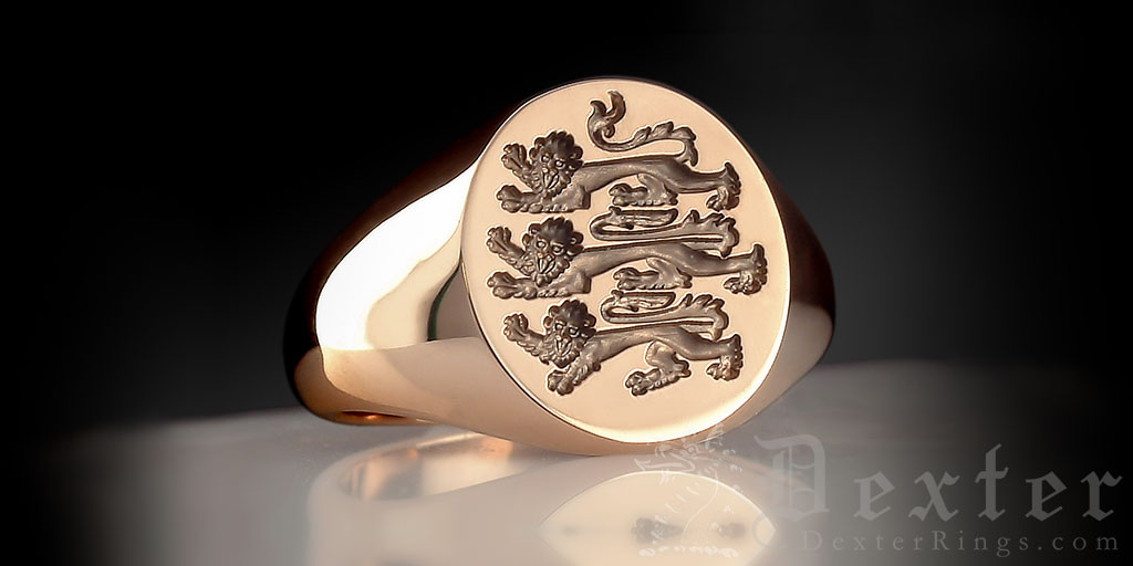 Three Lions Of England Footbal Emblem Oval Ring