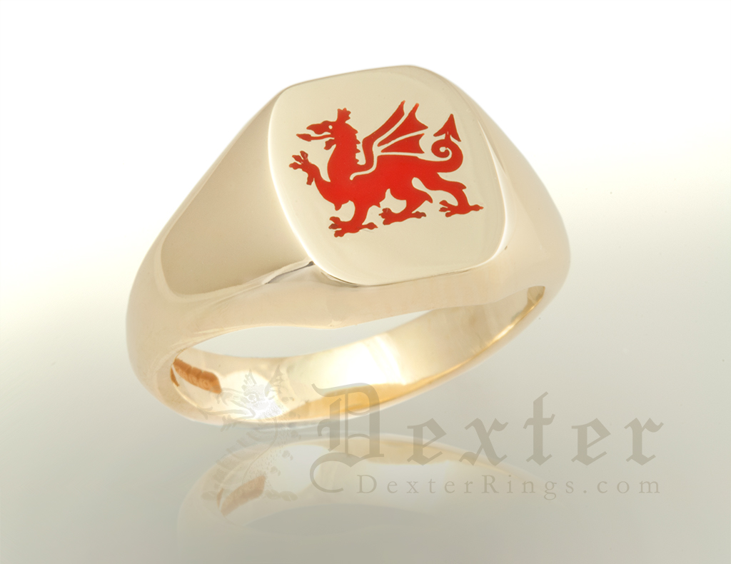 Welsh Dragon Signet Ring Enamelled Red
