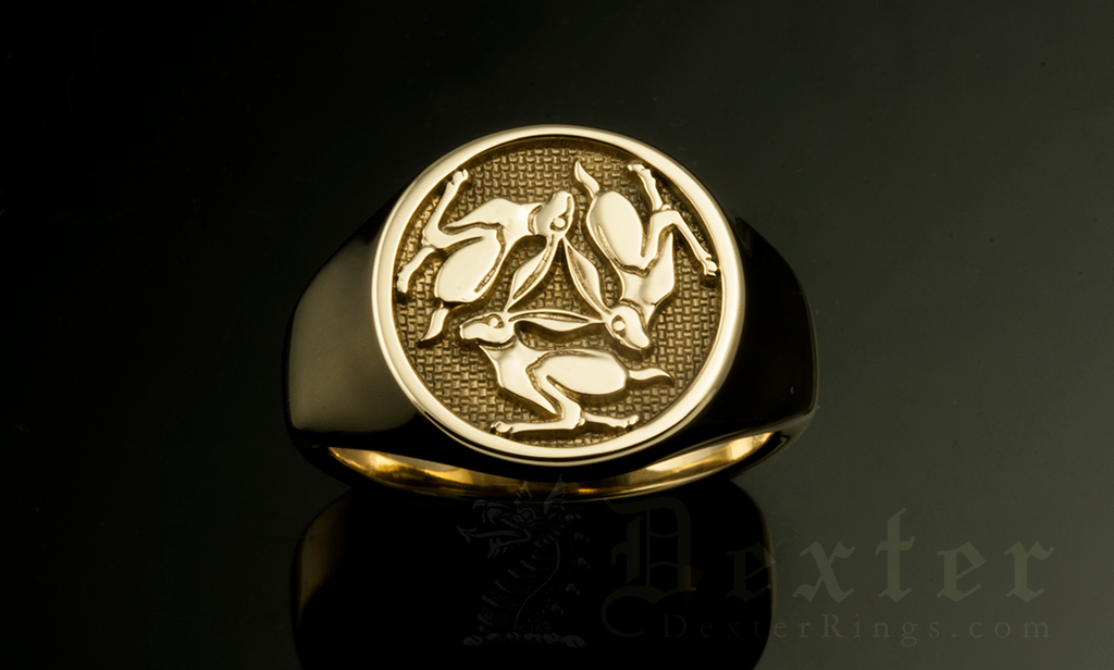Three Hares Rabbits Celtic Motif Signet Ring
