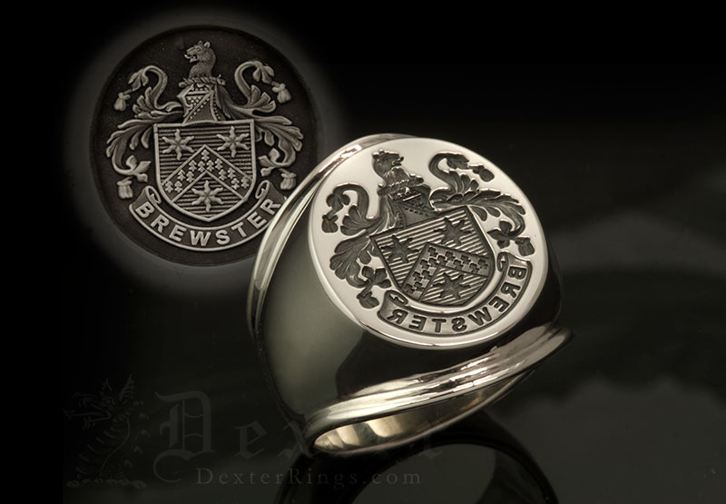 Brewster Family Name / Plantagenet Style Arms / 'Trad. Seal' / 'Supersize Ring'