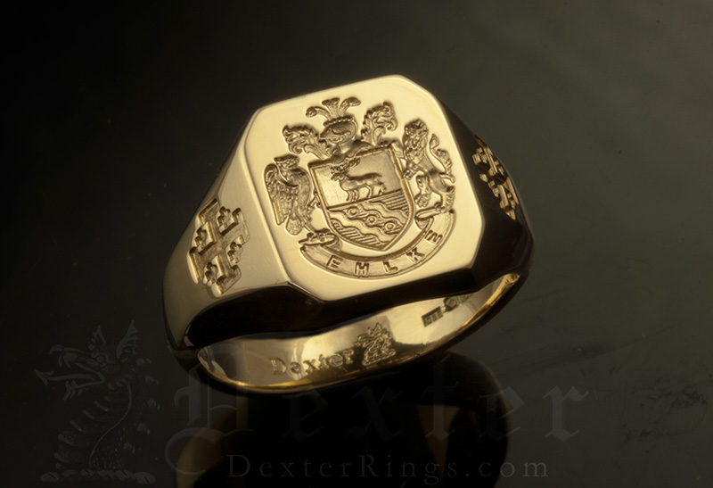 Ehlke Family Name / Habsburg Style Arms / 'Show Engraving' / Oval 14ct