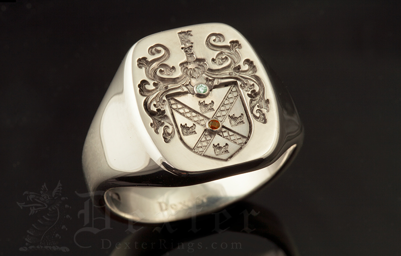 Purcell Family Name / Louis XIV Style Arms / 'Show Engraving' / Oval 14ct