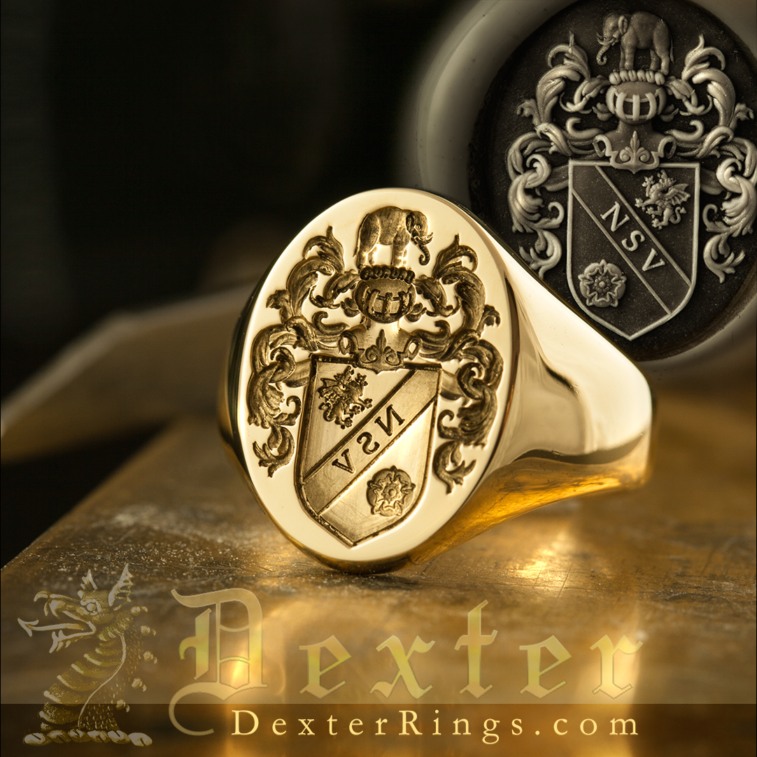 Louis-style-coat-of-arms-signet-ring-elephant-crest