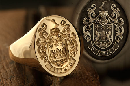 O'Neill Family Arms / Louis XIV Style / 'Seal Engraving' / 9ct Oval