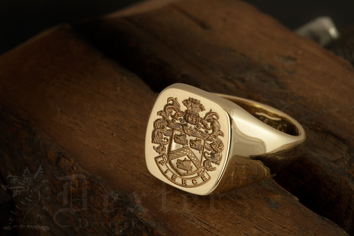Pierce Family Arms Cushion 14ct Gold Signet Ring