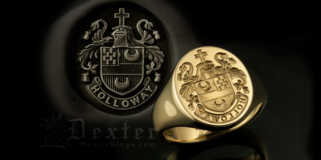 Holloway Family Name / Plantagenet Style Arms / 'Seal Engraved' / Oval 9ct