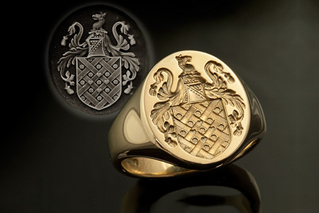 Gardner Family Name / Plantagenet Style Arms / 'Show Engraving' / Oval 14ct