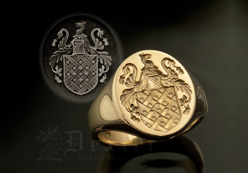 Gardner Family Name / Plantagenet Style Arms / 'Show Engraving' / Oval 18ct