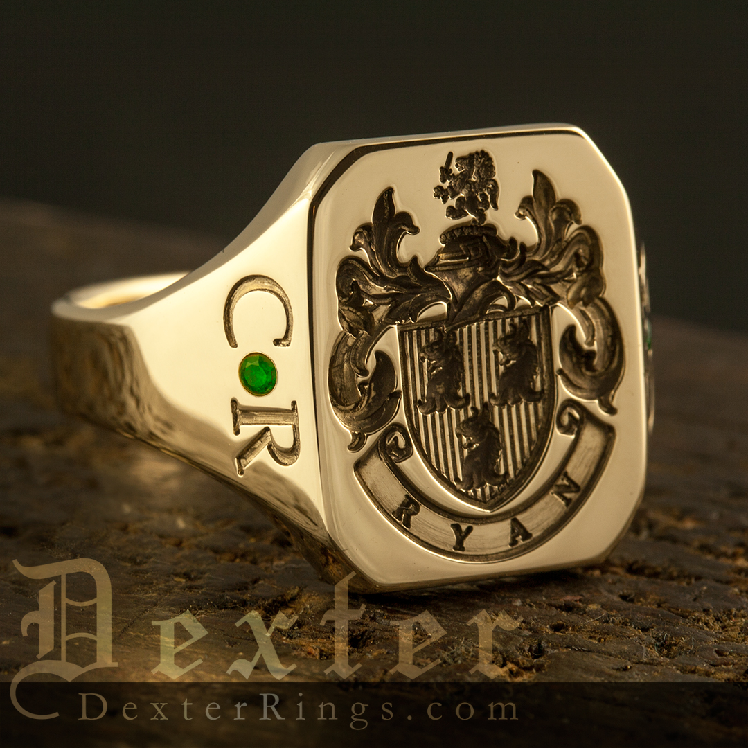 Ryan Family Arms Octagonal Signet Ring with Shoulder Work