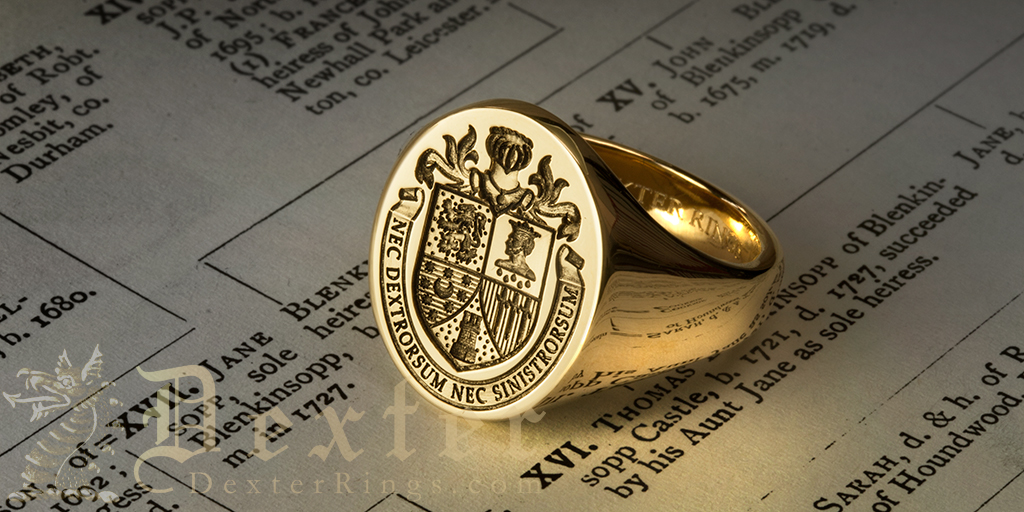 signet ring engraved with coat of arms using geniology & family tree