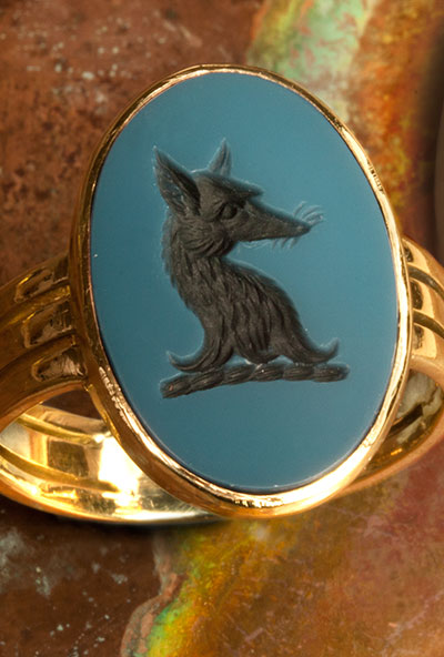 Blue Sardonyx Signet Ring Seal Engraved With Fox Head