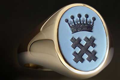Cross Coronet Crest Engraved Sardonyx Gemstone Ring