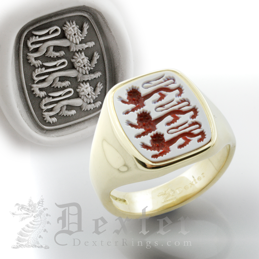 England Three Lions Red Sardonyx Gemstone Ring