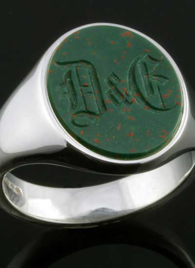 Bloodstone Ring Old English Monogram