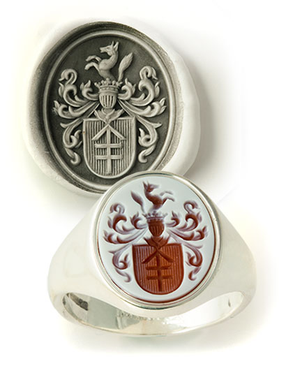 Red Sardonyx White Gold Coat-of-Arms
