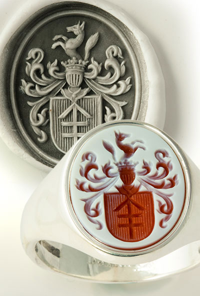 Red Sardonyx Gold Signet Ring Engraved with a Custom Bespoke Arms
