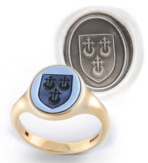 Blue Sardonyx Ring Engraved With a Shield charged with Crescents