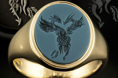Tattoo Inspired Entwined Celtic Beasts Sardonyx Signet Ring