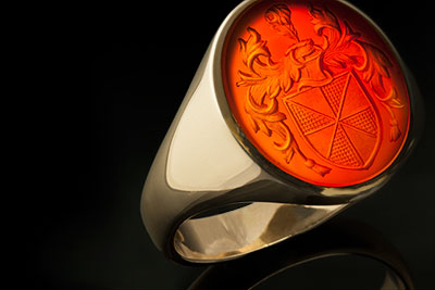 Carnelian Signet Ring Coat of Arms