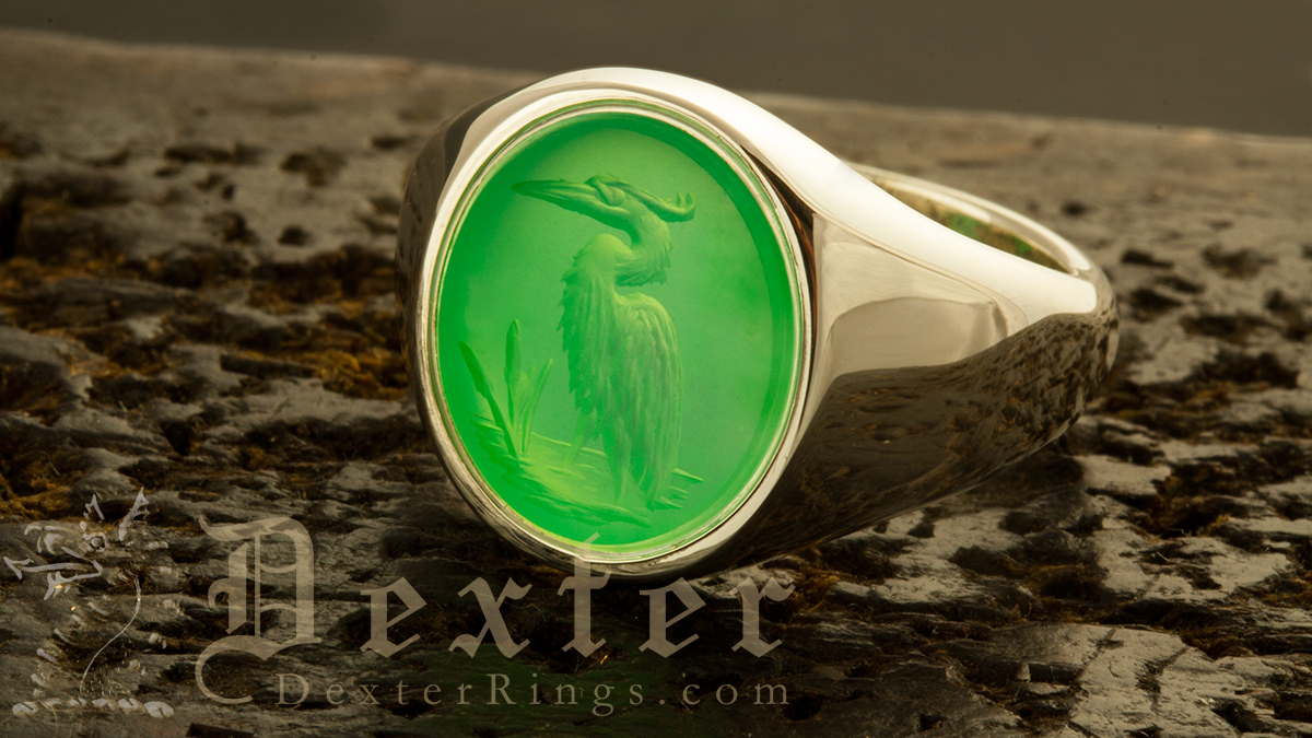 Crystaphase Signet Ring Engraved with Heron Design