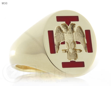 30th Scottish Rite Emblem Signet Ring With Enamel