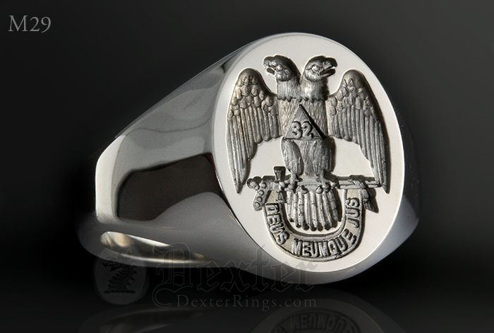 33rd Scottish Rite emblem Signet Ring White Gold