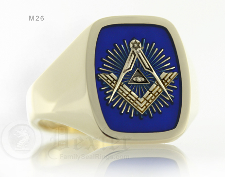All seeing eye square & compass starburst ring (M26 Cushion Enamelled)