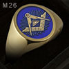 Blue enamel all seeing eye square & compass starburst oval ring (M26 Oval Enamelled)