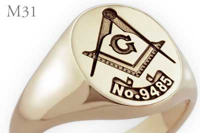 Square & Compass Signet Ring With Masonic Lodge Number