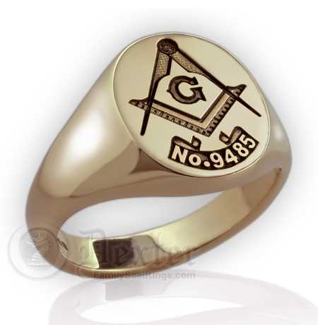 Square & Compass Gold Signet Ring With Masonic Lodge Number