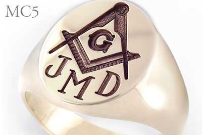 Square & Compass Signet Ring With Monogram